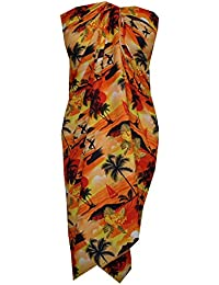 e7cab37fc451a Alvish Sarong Allover Ocean scenic Flower Beach Swimsuit Wrap Plus Size  Pareo