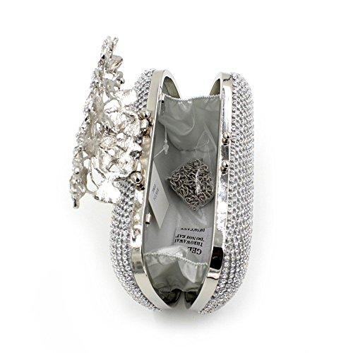 hibote Neue beiden Seiten Diamant Blumen Strass Abendtasche Clutch Upscale Styling Tag erfasst Lady Hochzeit Geldb?rse Silber Silber