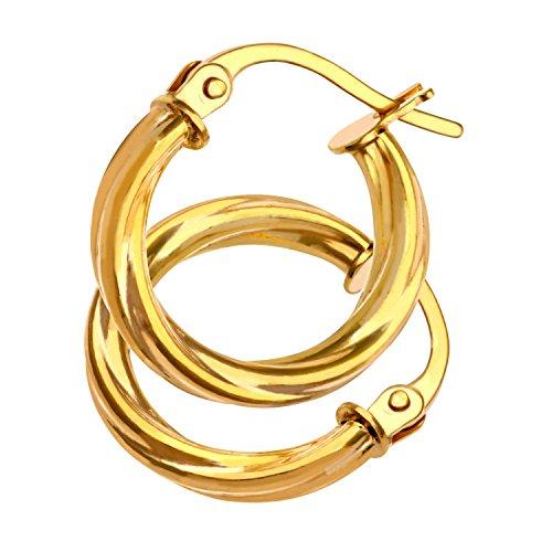 Citerna Pendientes para Mujer de Oro Amarillo 9K