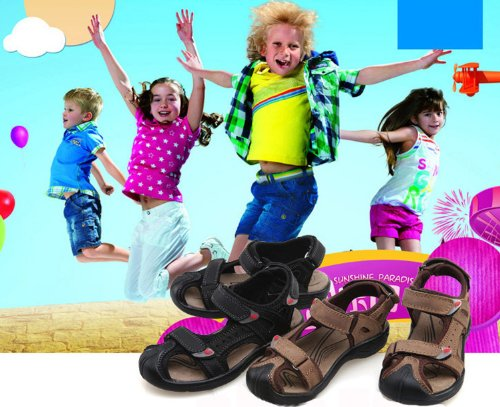 Dayiss® Jungen Leder Sandalen Sport- & Outdoor Schuhe Sandaletten Schwarz