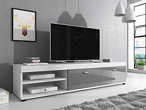 Meuble TV Armoire Support Elsa blanc/façades brillant gris 140cm