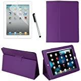 HDE Magnetic Folding Leather Folio Case Cover Stand for iPad 1st Generation Tablet w/ Screen Protector & Stylus (Purple)