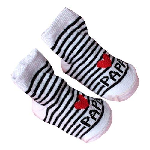 Baby Socken VENMO Baby Säugling Junge Mädchen Slip-resistente Boden Socken Liebe Mama Papa Letter Socken Alter: 0-6Monat (Gray) (2 Baumwoll-hausschuhe Stück)