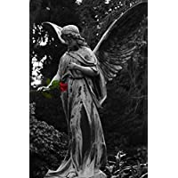 Angel Statue Holding a Single Red Rose Journal: 150 Page Lined Notebook/Diary - Roses Statua