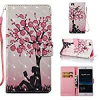 HUAWEI P9 Lite Case, Iddi-Case Fashion Cute Pattern Luxury Pu Leather Wallet Magnetic Design Flip Folio Protective Case Cover with Card Holder - Girl and Tree