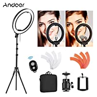 ‏‪Andoer 18 Inch 5500K LED Video Light Dimmable Photography Ring Fill Light CRI90+ 36W with Light Stand Color Filters Phone Remote Controller Phone Holder Bag for Portrait Wedding Interview Photography‬‏