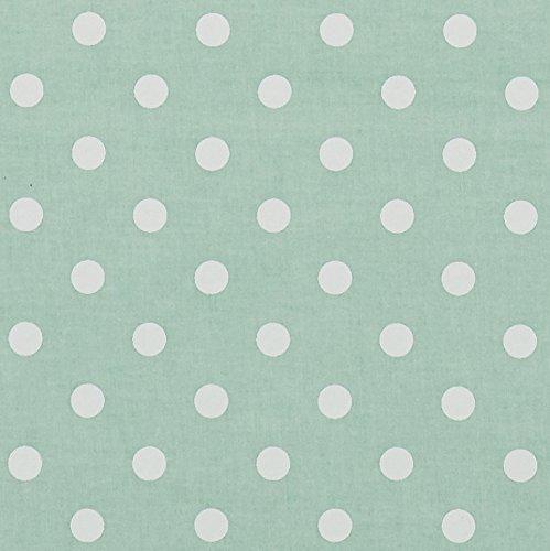 Vinylla Mantel de algodón con revestimiento de vinilo, fácil de limpiar, de color azul verdoso con lunares, vinilo algodón, Transparente, 140 x 140 cm