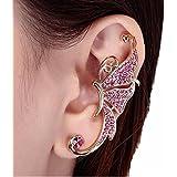 Mujers Pendientes,Xinan Alas de Mariposa Clip del Oído Pendientes Diamantes (Rosa)
