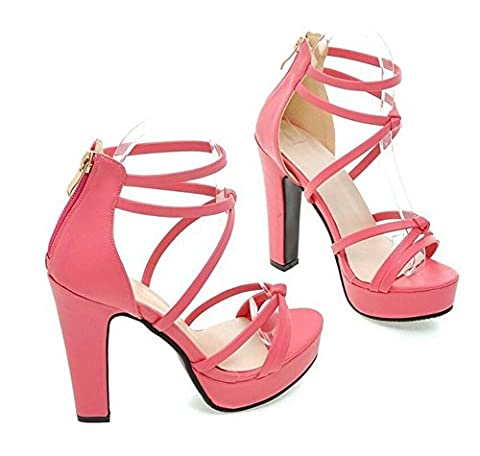 high heel open toe shoes Sexy thin belt cross straps sandals female , peach red , 39