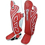 KINGTOP Top King – Espinilleras, Piel, vollschutz, Rojo, Shin Guards, tksgp de GL, Muay tamaño m