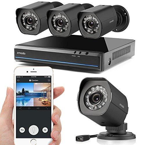 Zmodo 4 Kanal 1080p HDMI NVR Überwachungssystem mit 4 Echten 720p HD sPoE Überwachungskameras, Indoor/Outdoor, IP65 Wetterfest, Bewegungsmelder, Keine Festplatte