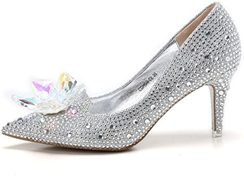 muyii mariée cendrillon cendrillon cendrillon crystal talons femmes strass b07d2hwvtg chaussures de mariage, silv er-7. 5cm33 par en t 799d60