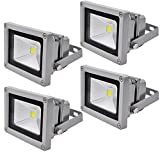 Leetop 4X 10W LED Strahler Kaltweiß Fluter Licht Scheinwerfer Außenstrahler Wandstrahler Aluminium IP65 Wasserdicht