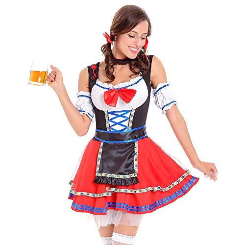 Warten Rote Kostüm - Sannysis Oktoberfest Kostüm Damen Trachtenkleid Halloween Karneval Bayerische Traditionelle Kleidung Dirndl Kleid Minirock Cosplay Dirndl Kostüm (XL, Rot)