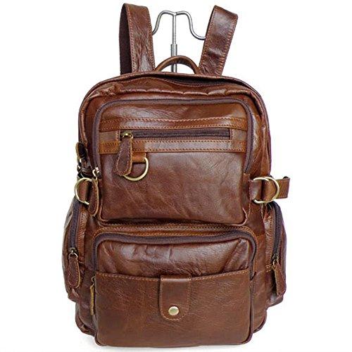 Everdoss Herren Damen echt Leder Freizeitrucksack Daypacks Schulrucksack Schulranzen Backpack