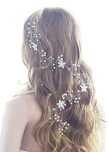 Gracewedding Brautschmuck Ohrringe mit Kristall-Blumen-Rebe für Hochzeit, Vintage Frauen Kopfschmuck Party Halloween Haarschmuck Hochzeit-Schmuck für Party, Urlaub, Festivals, Halloween