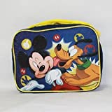 Disney Mickey Mouse Rectangle Lunch Bag With Strap And Microsilk Printing- Navy/ Yellow