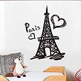 yaoxingfu Torre Eiffel de París Tatuajes de Vinilo de Pared Eiffel símbolo París Francia Murales de Arte Dormitorio Decoración para el hogar Accesso58 cm X 77 cm