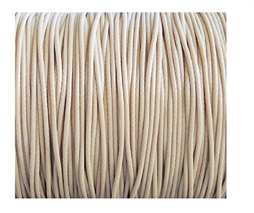 PANDORESECRETS 10 Mètres Fil Coton Cordon Macramé Bijoux Perles 1 mm pour Bracelet Shamballa -Imitation Cuir - Beige