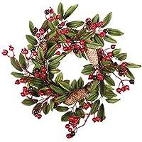 cheerfulus Guirnalda de la Navidad Red Berry Otoño Puerta Guirnalda de la Puerta Garland Decor Adornos de Navidad Corona Decorativa de Acción de Gracias