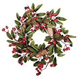 createjia Guirnalda de la Navidad Ventana Colgante Verde Big Pine Cone Rattan Home Window Decoration Artificial Garland para Home Party Festival Adornos Decoración