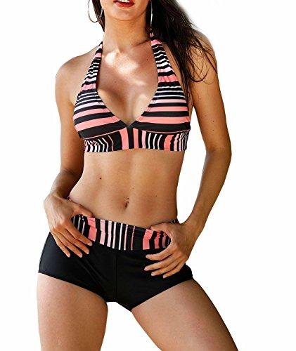 Idol Damen Sexy Plus Size 2 Stück Bademode Low Waist Bikini Badeanzug (Anzug Schwarzer Trennt)