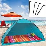 camp active® Pop Up Strandmuschel mit Boden Wurfzelt Sonnenschutz Windschutz UV Schutz 200x125x110 cm blau
