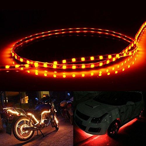 Éclairage de la voiture, Lumière verte normalement sur le style 45 LED 3528 SMD imperméable à l'eau flexible bande lumineuse pour la décoration de voiture, DC 12V, longueur: 45cm