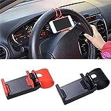 EROSPA® KFZ Auto Handy Smartphone iPhone Telefon-Lenkrad-Halterung - Car Steering Wheel Phone Socket Holder (Schwarz)