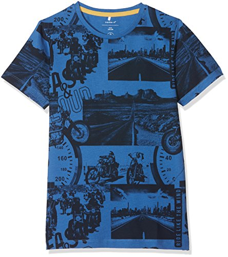 NAME IT Jungen T-Shirt NKMHJALTE SS TOP Mehrfarbig (Delft) 128 Ready Made Short