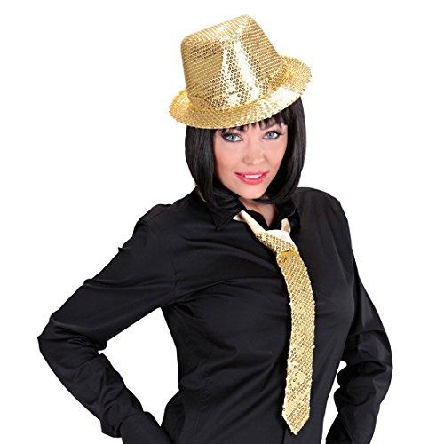 NET TOYS Pailletten Hut Party Trilby gold Glitzer Paillettenhut Disco Faschingshut Sequin Schlager Fedora Karneval Kostüm Zubehör