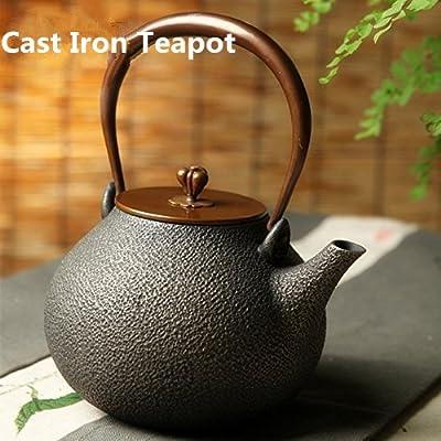 Théière en fonte japonaise Théière Pot à thé bouilloire en cuivre Couvercle pour thé café 1.3L