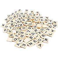 Boladge 100pcs traditionnel scrabble carreau DIY jeu bois artisanat alphabet numéro carte scrabble lettres jouet pour enfants