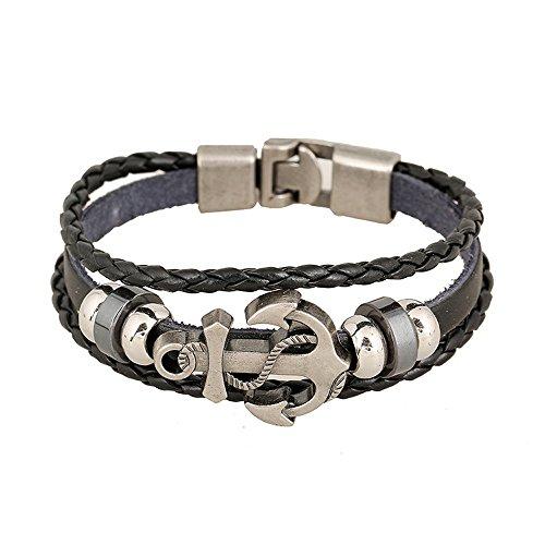 Cestlafit Vintage Leder Charm Armband, Boot Anchor Reggae Armband Leder für Männer, Valentine Geschenke für junge Männer, schwarz (Leder-band-boot)