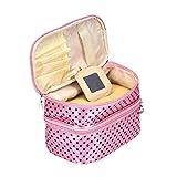 Tonsee Frauen Portable kosmetische Veranstalter Make-up Hardcase Zip Beutel(Rosa)