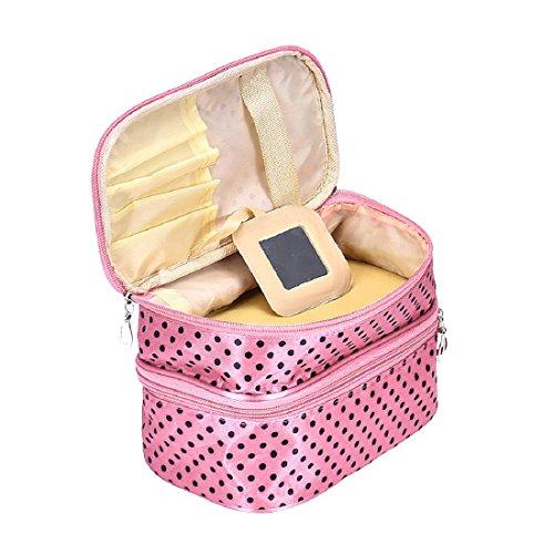 Tonsee Frauen Portable kosmetische Veranstalter Make-up Hardcase Zip Beutel(Rosa) (Trolley-make-up Veranstalter)