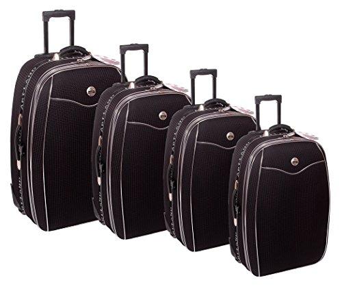 Reisekoffer, Koffer, Kofferset, Trolley, mit Dehnfalte, 4 tlg., schwarz