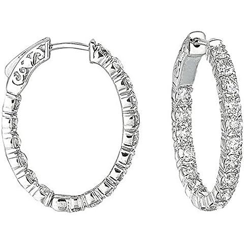 3,57. K Hot diamonds-Orecchini a cerchio ovale-Orecchini a cerchio in oro bianco 9 kt con diamante da 10 - Hot Diamonds Cerchio Orecchini