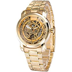 AMPM24 Luxury Skeleton Dial Automatic Gold Stainless Steel Mens Mechanical Wrist Watch + AMPM24 Gift Box PMW289