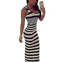 Fashion Sexy Women Black White Striped O-Neck Sleeveless Bodycon Max Dress Vest Dresses