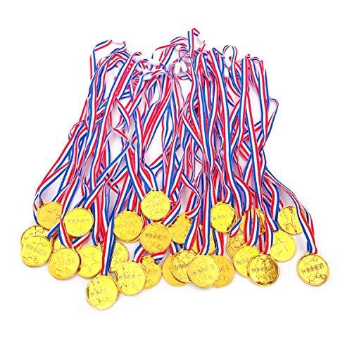 JZK 30x Kunststoff Gold Medaillen Set Party Medaillen für Kinder Party Spiel Preise Geburtstag Mitgebsel Geschenk Kinder Party Gastgeschenk