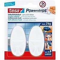 Tesa 58013-00052-01 Powerstrips Large Gancio Adesivo, Ovale, Bianco