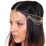 Haarkette Kopfkette Haarband Band Kette Kopfschmuck Haarschmuck in verschiedenen Style`s in gold-Optik von DesiDo (1)