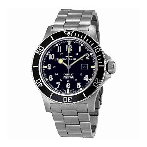 Glycine Combat sub automatico nero quadrante mens orologio GL0095