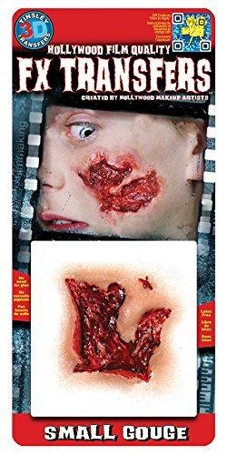 Rasta Imposta Offene Fleischwunde 3D Klebe-Tattoo Halloween Haut-rot 12,7x11,4cm Einheitsgröße (Hollywood Film Kostüme Für Halloween)