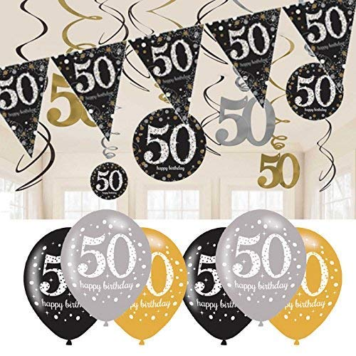 50th Birthday Black and Gold Balloons, Decorations and Bunting Set