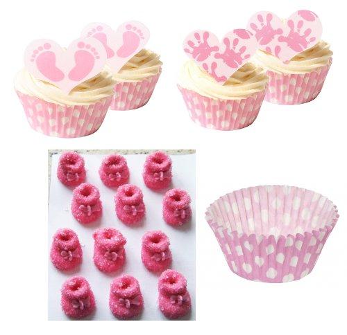 Baby Mädchen Cake Set: 12 Baby Mädchen Handdekorationen, 12 Baby Fußdekorationen, Pinkfarbene Zucker Babyschühchen & 36 Pinkfarbene Pünktchen Förmchen
