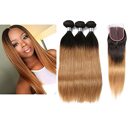 Mila Tie and Dye Naturel Tissage 3 boule Humain Cheveux Ombre 1B/27# Blond Miel Lisse Bresilienne Mèches Virgin Remy Hair 100g/pc avec Lace Closure (16\\