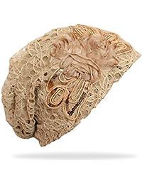 Trend Damen Long Beanie Mütze mit dekorative Blüte in 5 Farben - A015