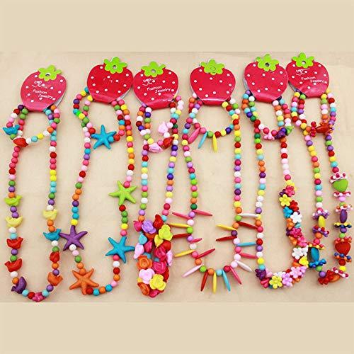 Huture 6 Stücke Sätze Halskette und Armband ketten Perlenkette set Für kleine Mädchen Prinzessin Süßigkeitsfarbe Farbige Halskette Baby Mädchen Kinder Party schmuck Kindergeburtstag Kleinkind Dress Up